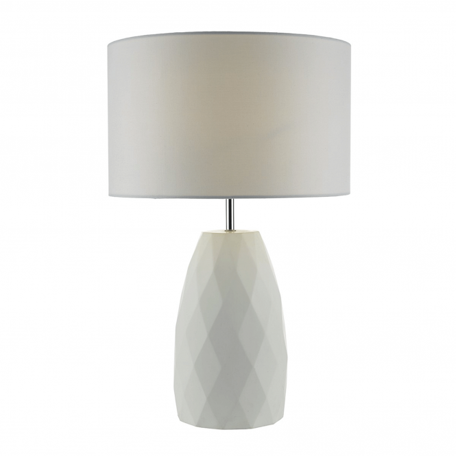 Dar Lighting Ciara White Table Lamp with White Linen Shade