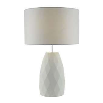 Ciara White Table Lamp with White Linen Shade