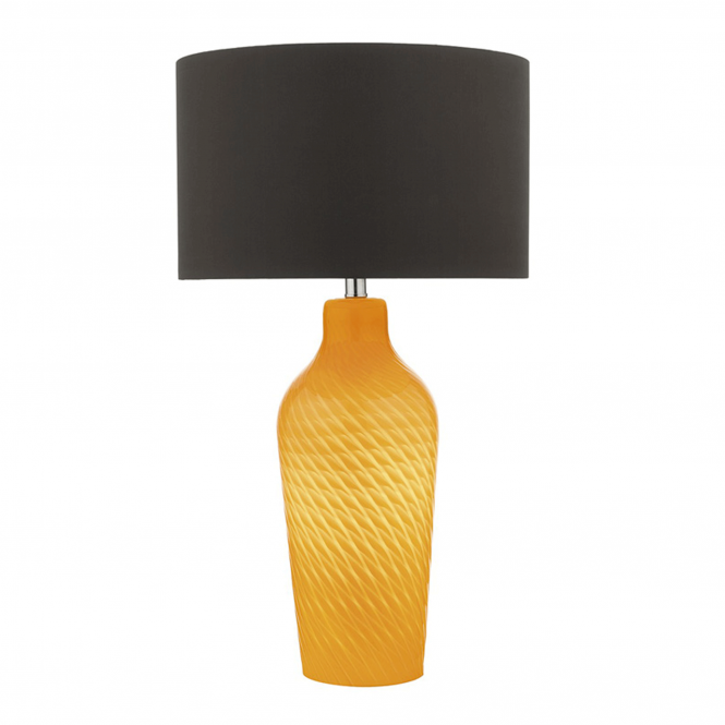 Dar Lighting Cibana Dual Light Table Lamp in Yellow with Dark Brown Shade