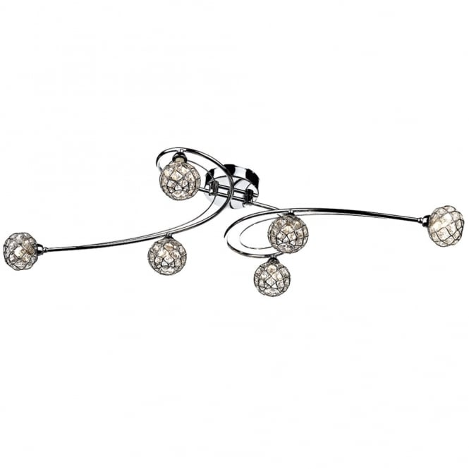 Dar Lighting Circa 6 Light Flush in Polished Chrome with Crystal Shades