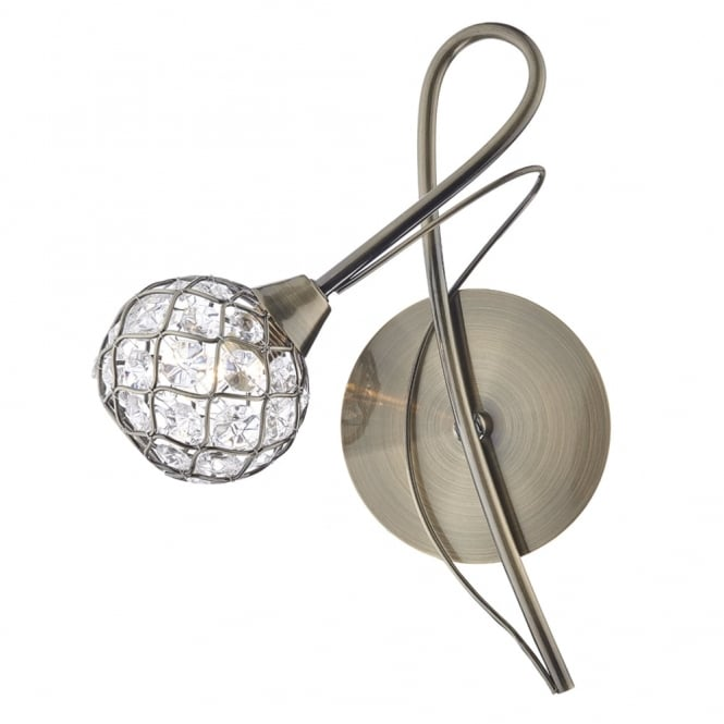 Dar Lighting Circa Single Wall Light in Antique Brass with Crystal Glass Shade
