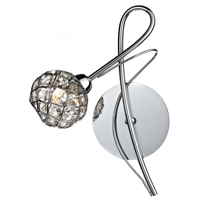 Dar Lighting Circa Wall Light in Polished Chrome with Crystal Glass Shade