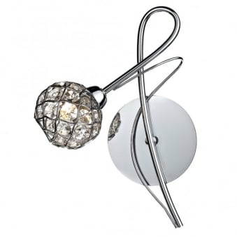 Circa Wall Light in Polished Chrome with Crystal Glass Shade