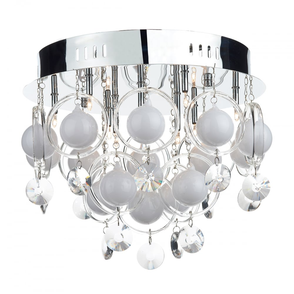 9 light chrome with crystal and opal glass flush ceiling light cloud 9 light chrome with crystal and opal glass flush ceiling light mozeypictures Choice Image