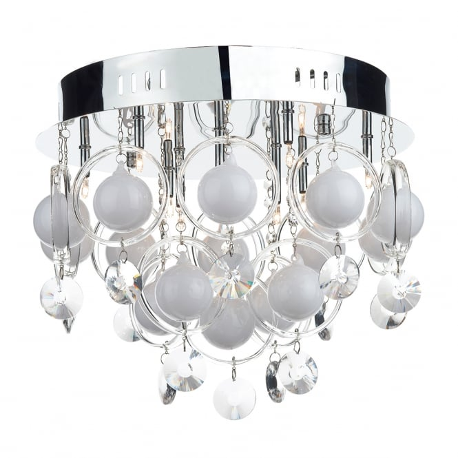 Dar Lighting Cloud 9 Light Chrome with Crystal and Opal Glass Flush Ceiling Light