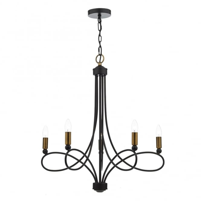 Dar Lighting Cosworth Five Light Pendant with Copper Accents