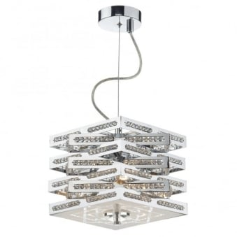 Cube 3 Light Crystal Pendant in Polished Chrome