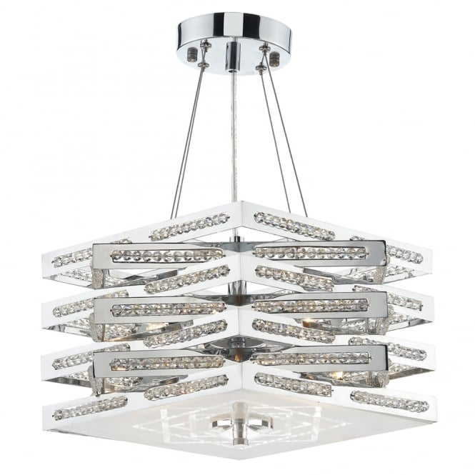 Dar Lighting Cube 5 Light Crystal Pendant in Polished Chrome