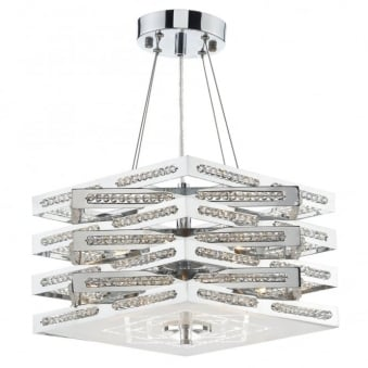 Cube 5 Light Crystal Pendant in Polished Chrome