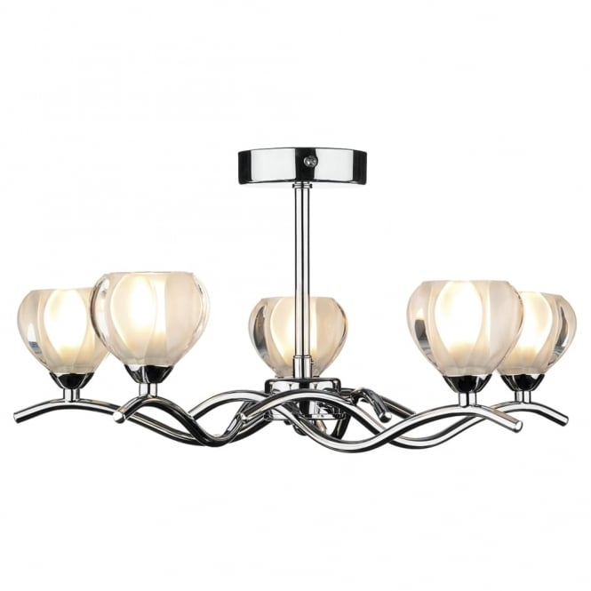 Dar Lighting Cynthia 5 Light Semi Flush Fitting in Polished Chrome