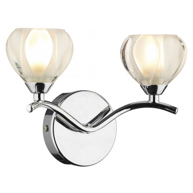 Dar Lighting Cynthia Double Wall Light in Polished Chrome