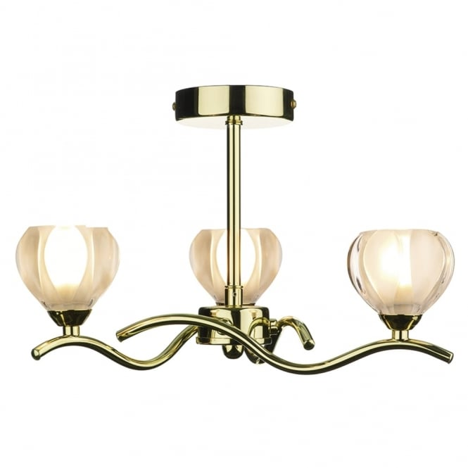 Dar Lighting Cynthia Triple Semi Flush Fitting in Polished Brass