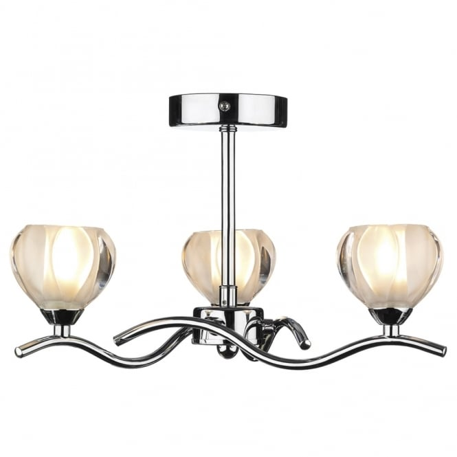 Dar Lighting Cynthia Triple Semi Flush Fitting in Polished Chrome