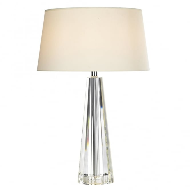 Dar Lighting Cyprus Table Lamp with Crystal Glass Base