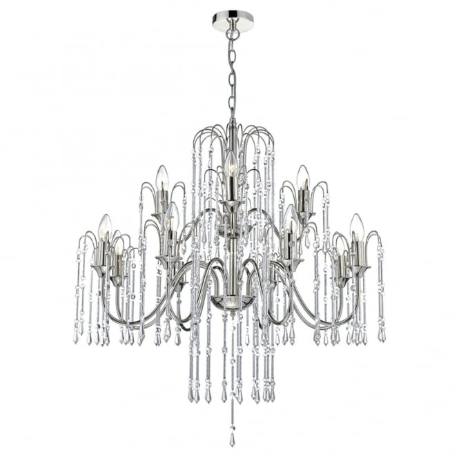Dar Lighting Daniella 12 Light Chandelier Pendant with Cascading Crystal Beads