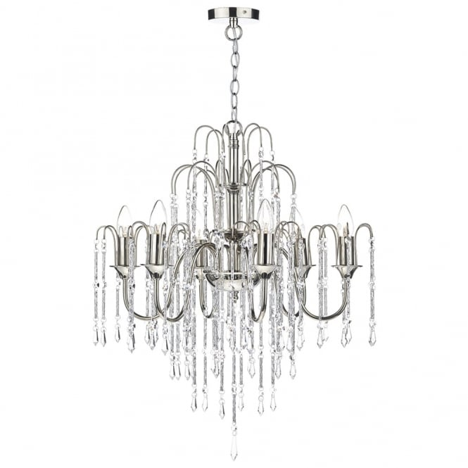 Dar Lighting Daniella Six Light Chandelier with Cascading Crystal Beads