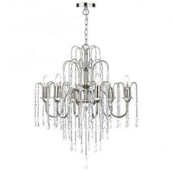 Daniella Six Light Chandelier with Cascading Crystal Beads