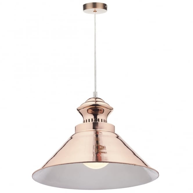 Dar Lighting Dauphine Pendant in Bright Copper