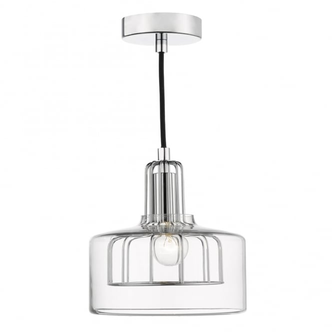 Dar Lighting Defoe Pendant with Polished Chrome Cage and Clear Glass