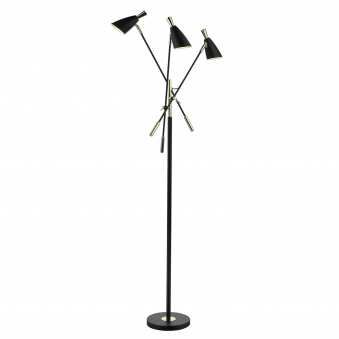 Diego Triple Black and Gold Floor Lamp
