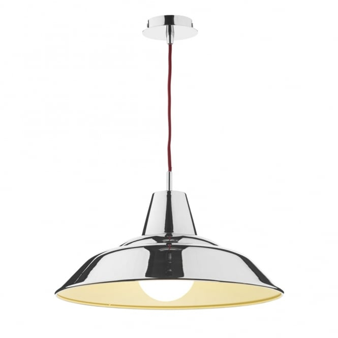 Dar Lighting Digby Pendant in Polished Chrome and Red Braided Cable