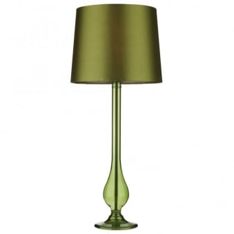 Dillon Table Lamp in Green Glass and Green Faux Silk