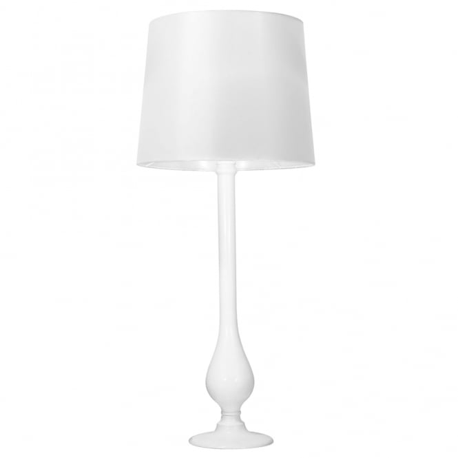 Dar Lighting Dillon Table Lamp in White Glass and White Faux Silk