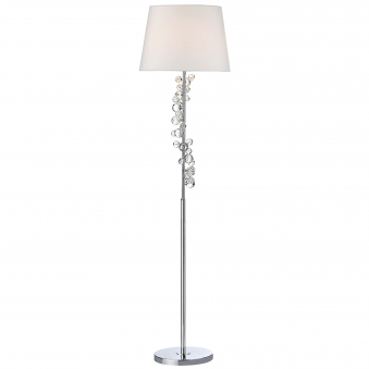 Dixie Floor Lamp in Polished Chrome with White Shade