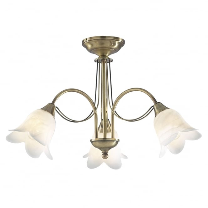 Dar Lighting Doublet 3 Light Semi Flush Ceiling Light in Antique Brass