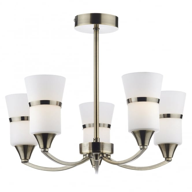 Dar Lighting Dublin 5 Light Semi Flush LED Ceiling Fitting in Antique Brass
