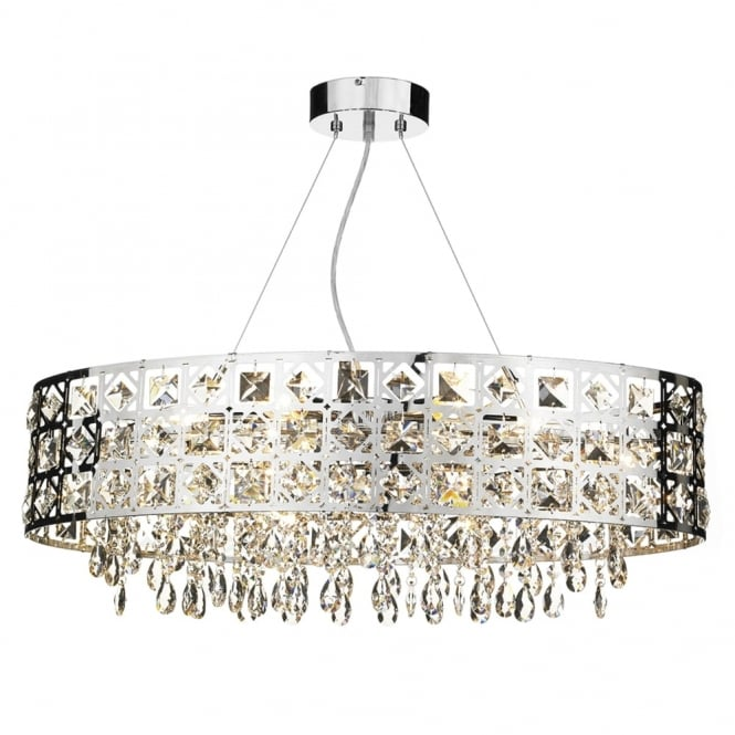 Dar Lighting Duchess 6 Light Oval Pendant in Polished Chrome with Crystal Drops