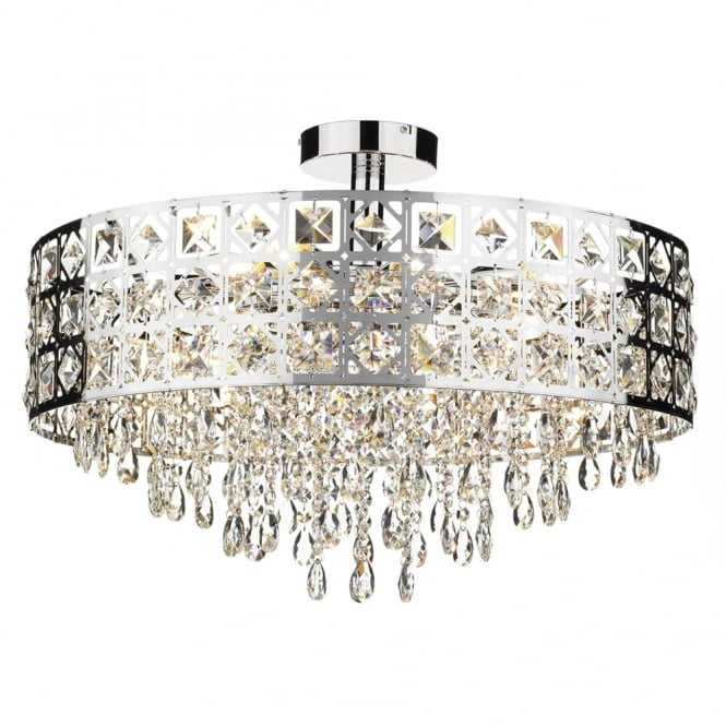 Dar Lighting Duchess Six Light Pendant in Polished Chrome with Crystal Drops