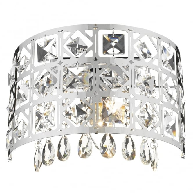 Dar Lighting Duchess Wall Light in Polished Chrome with Crystal Drops