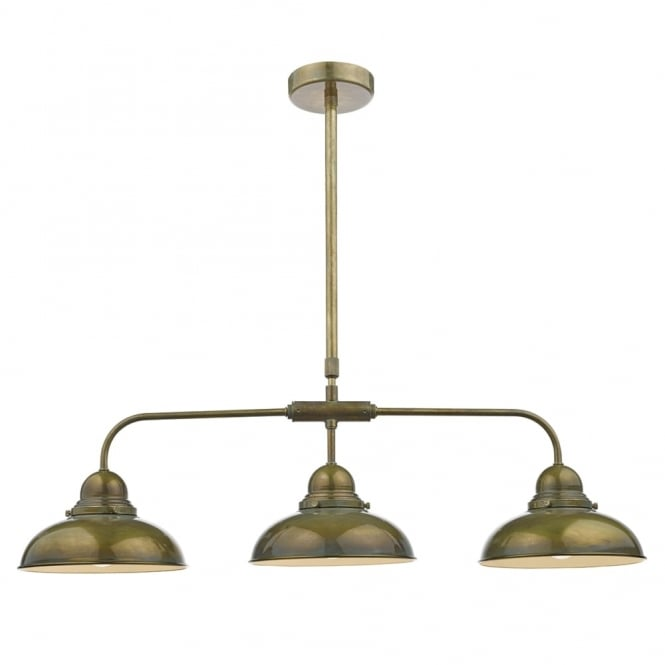 Dar Lighting Dynamo 3 Light Bar Pendant in an Aged Brass Finish
