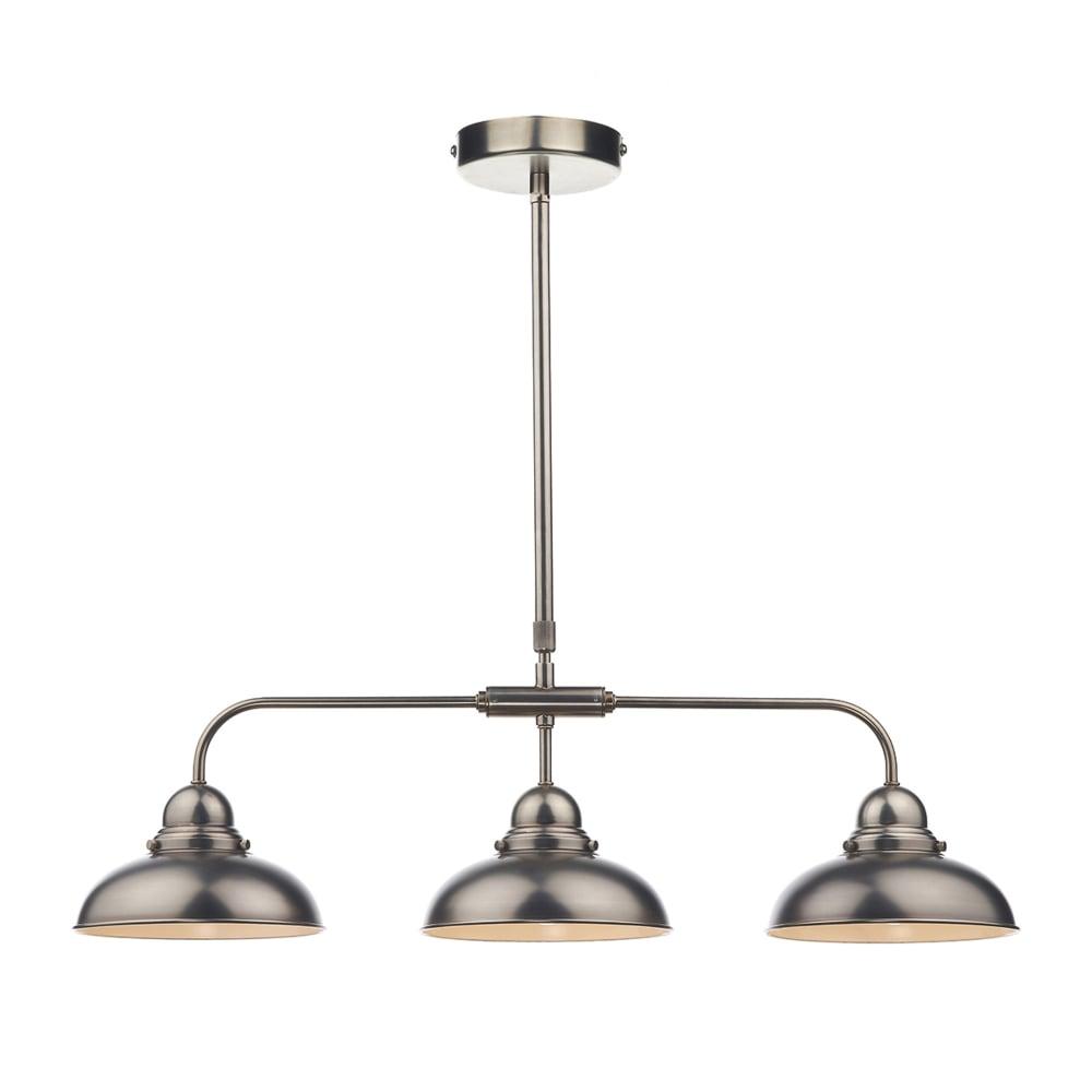 dar lighting dynamo 3 light bar pendant in antique chrome