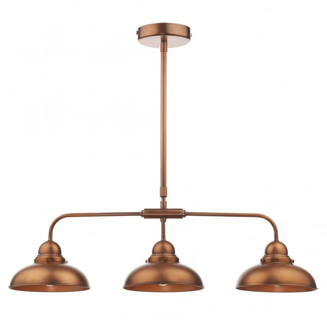 Dar Lighting Dynamo 3 Light Bar Pendant in Antique Copper