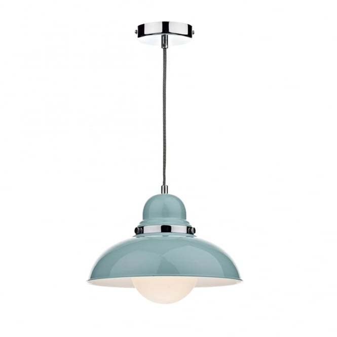 Dar Lighting Dynamo Metal Pendant in Blue