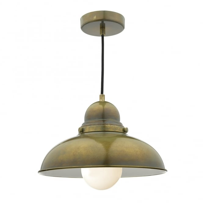 Dar Lighting Dynamo Retro Pendant in an Aged Brass Finish