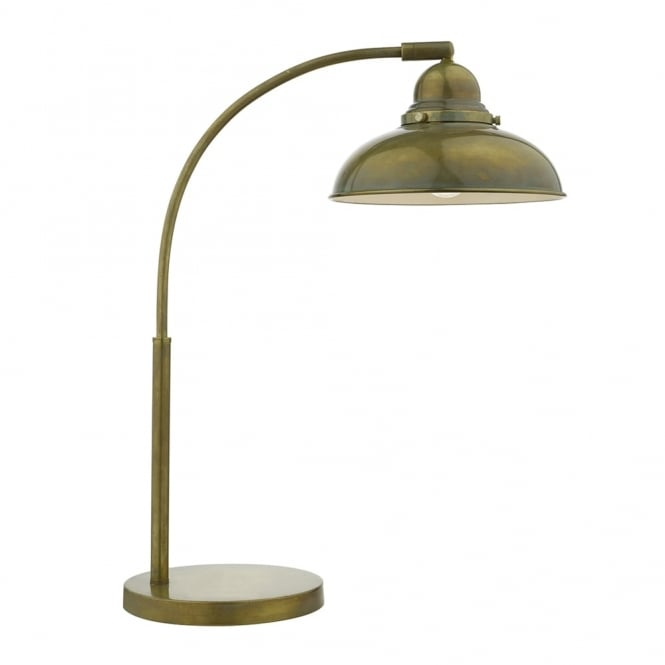 Dar Lighting Dynamo Table Lamp in an Aged Brass Finish