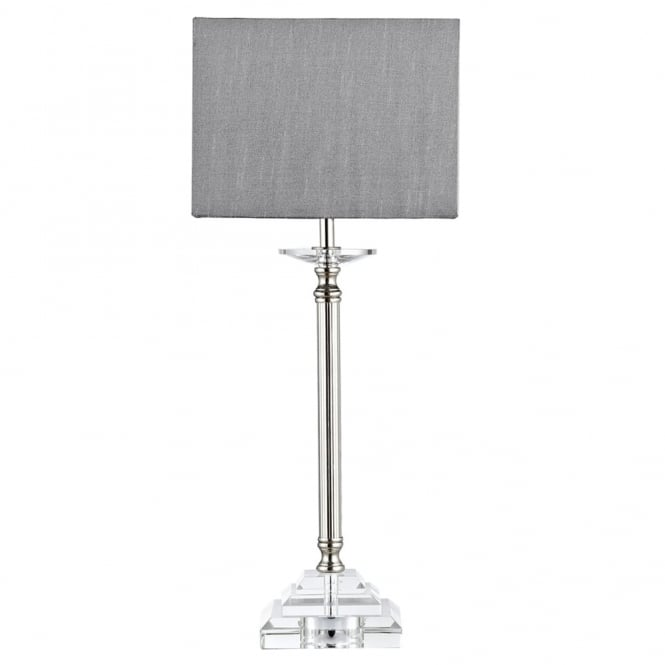 Dar Lighting Earl Table Lamp in Crystal Glass and Polished Nickel