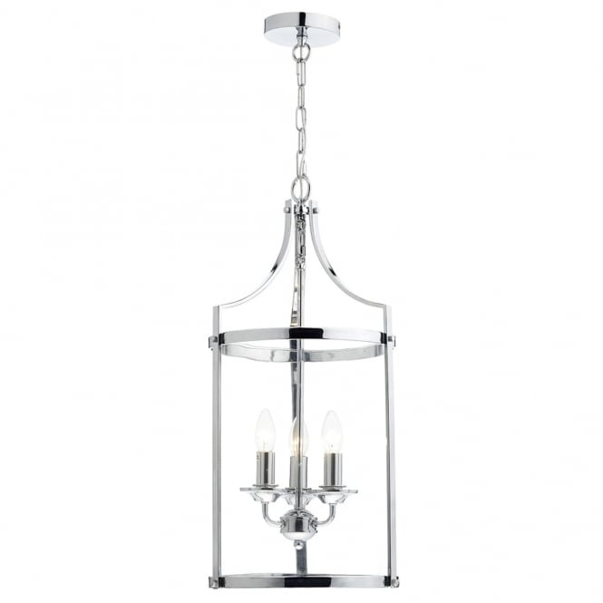 Dar Lighting Ely Three Light Pendant in Polished Chrome
