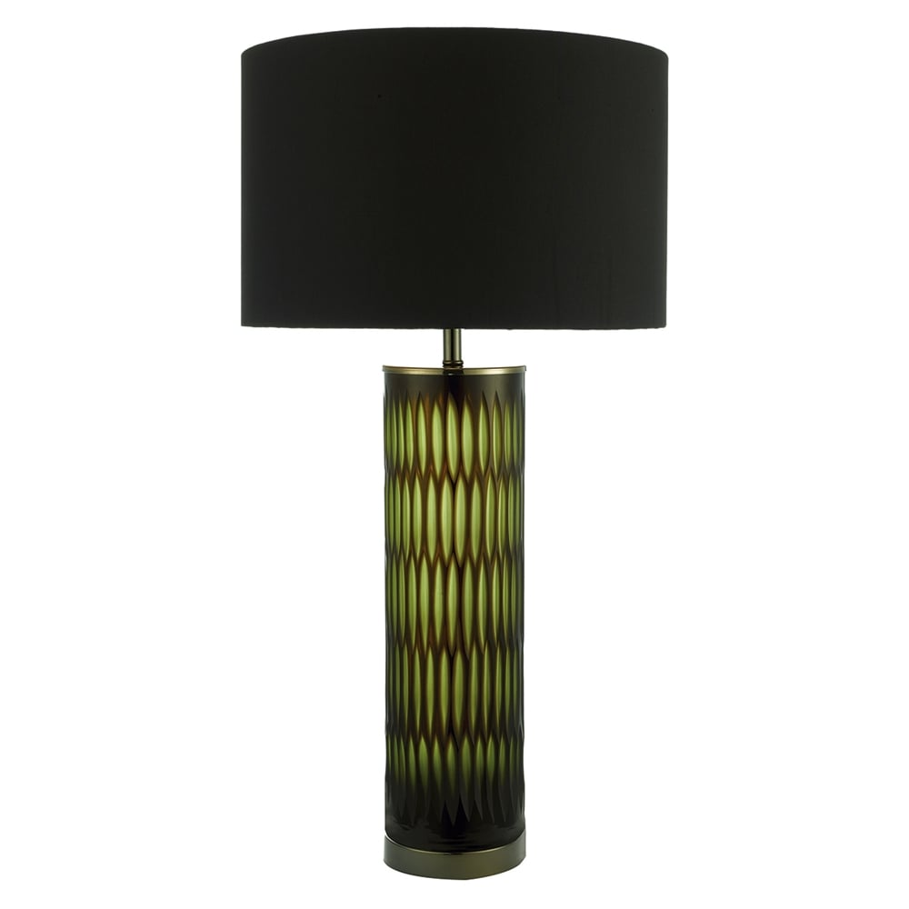 Dar Lighting Emerald Table Lamp with Two Tone Green and Brown Base ...