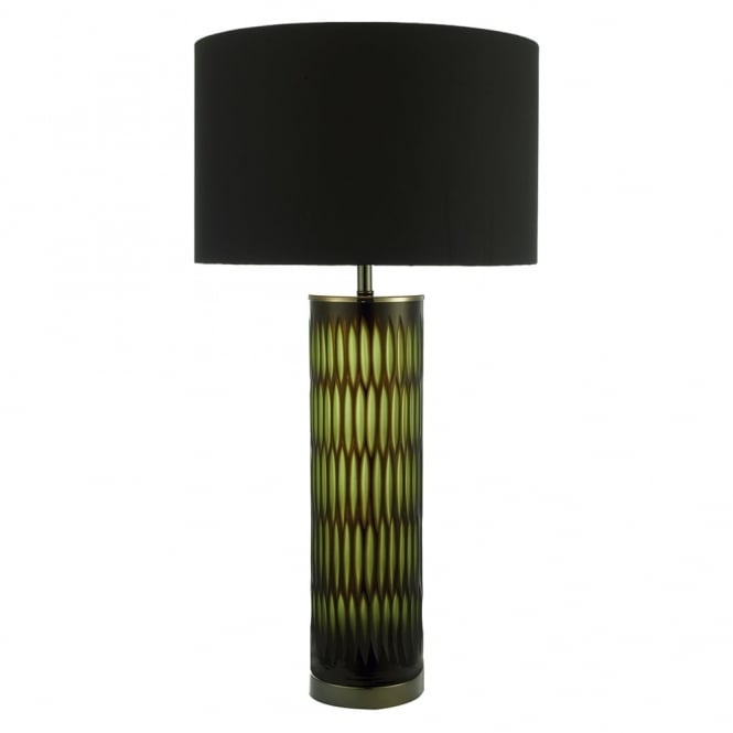 Dar Lighting Emerald Table Lamp with Two Tone Green and Brown Base