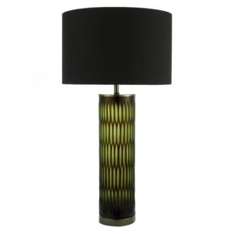 Emerald Table Lamp with Two Tone Green and Brown Base