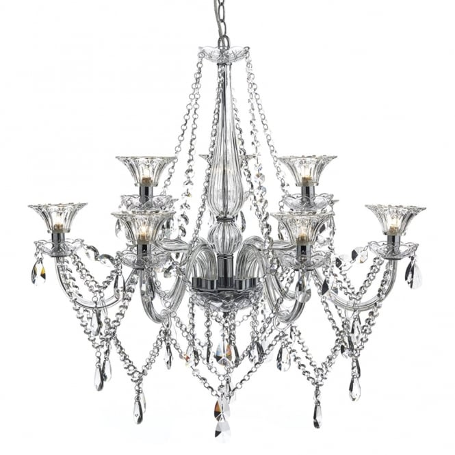 Dar Lighting Emma Nine Light Chandelier with Faceted Crystal Glass Rings
