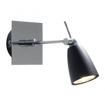 Empire Single Wall Light in Matt Black and Polished Chrome