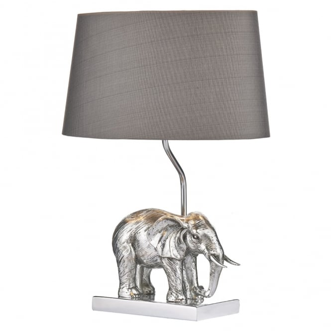 Dar Lighting Enrique Elephant Table Lamp with Grey Faux Silk Shade