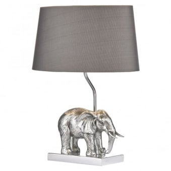 Enrique Elephant Table Lamp with Grey Faux Silk Shade