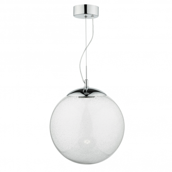 Dar Lighting Epoch LED Pendant with Hand Blown Seeded Glass