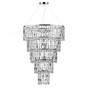Dar Lighting Giovana Smoked Crystal Glass and Chrome Chandelier Pendant